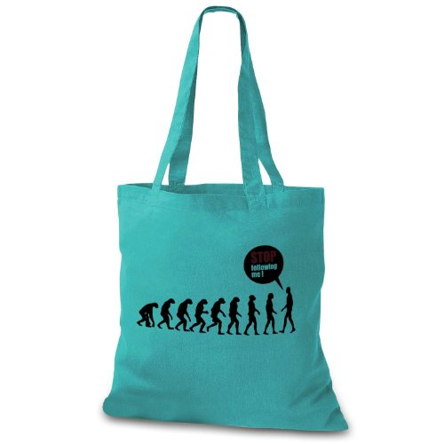 StyloBag Jutebeutel Stop following me - Funny Evolution Stofftasche Mint