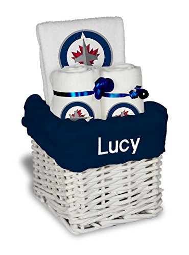 Designs by Chad and Jake Baby Personalized Winnipeg Jets Small Gift Basket One Size White