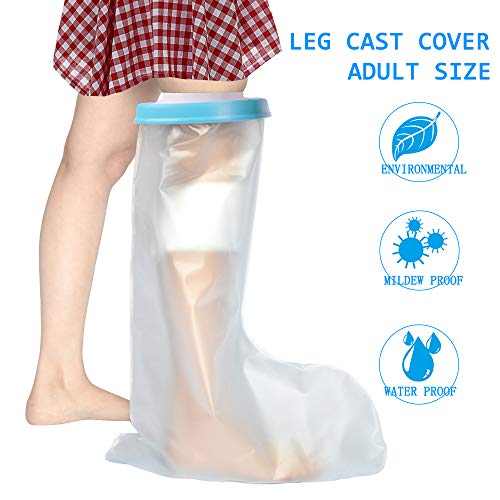 Waterproof Leg Cast Protector for Adults - Reusable Shower Cast Cover Bandage Protector Water Resistant Dry Bag - Leg Cast Sleeve for Broken Foot, Ankle and Toe