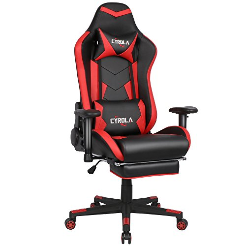 Cyrola Large Size Real PU Leather High Back Comfortable Gaming Chair with Footrest PC Racing Chair with Lumbar Support Headrest Ergonomic Design(Red/Black)