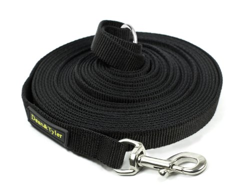 Dean & Tyler Track Single Ply Black Nylon 20-Feet by 3/4-Inch Dog Leash with a Ring on Handle and Stainless Steel Snap Hook by Dean & Tyler