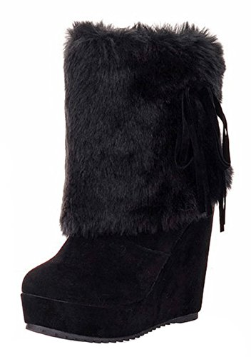 Aisun Women's Warm Faux Fur Lined Round Toe Wedge Winter Short Boots High Heel Pull On Platform Ankle Snow Booties (Black, 8 B(M) US) by Aisun