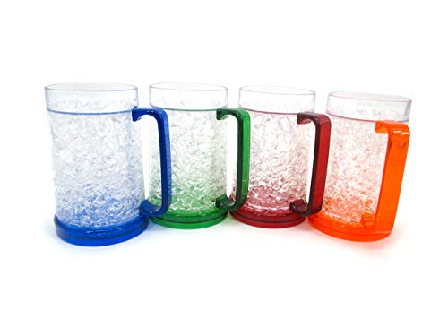 (Plastic Freezer Beer Mugs with Gel by Trademark Innovations (Set of)