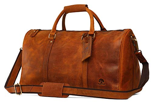 Leather Duffel Bags For Men - Airplane Underseat Carry On Luggage By Rustic Town