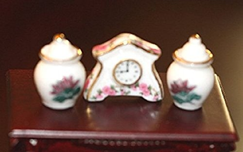 (Dollhouse Miniature Mantle Clock and 2)