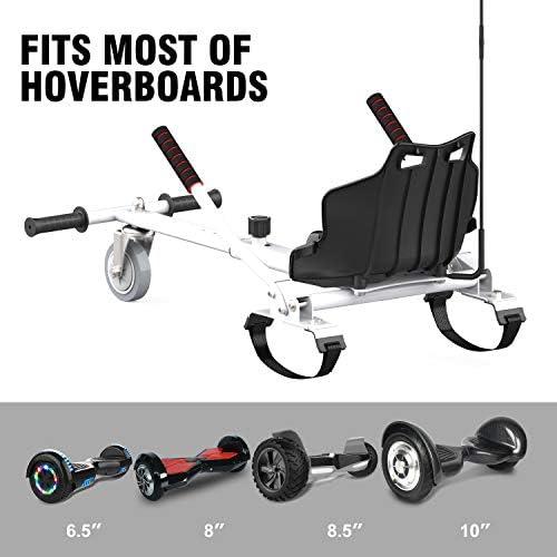 RCB Hoverkart pour Hoverboard Accessoires pour Gyropode Auto-équilibré Gokart Longueur Ajustable Compatibles avec Tous Les Hoverboards - 6,5/8 / 8,5/10 Pouces pour Adultes & Enfants Cadeau pour Noël