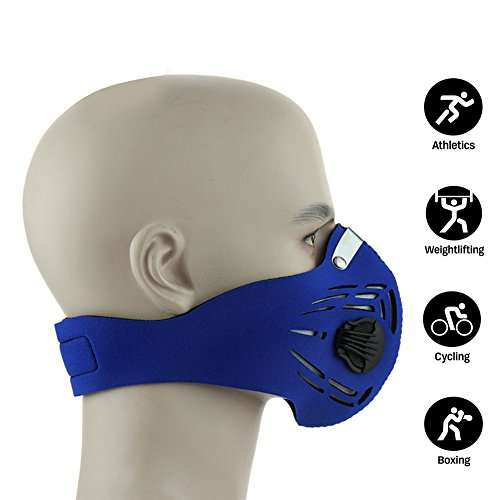 NEWTALL Workout Training Fitness Mask MMA High Altitude Simulation Dustproof Mask Activated Carbon Filtration Exhaust Gas Anti Pollen Allergy PM2.5 Face Mask for Running Cycling Outdoor Sports (Blue) by NEWTALL