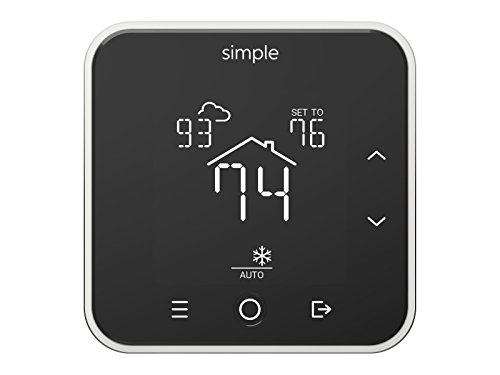 The Simple Thermostat, Energy Star Wi-Fi Smart Thermostat With Mobile App, 7 Day Schedule, Works with Amazon Alexa (Black With C-Wire Kit) - simple S100 B