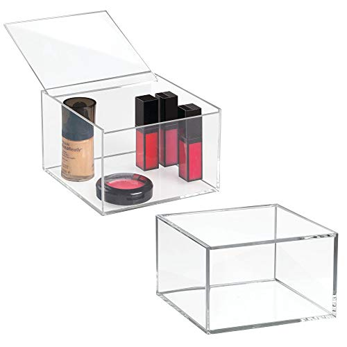 (mDesign Bathroom Stackable Drawer Organizer with Hinged Lids for Nail Polish, Perfume- Pack of 2, 6
