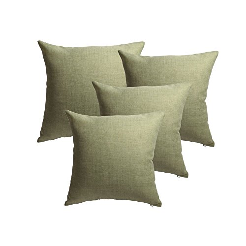 (ALBAD Linen Pillow Covers 18 x 18 Inch Sets of 4 Spinach Green Decorative Square Throw Pillow Cover Cushion Case Sofa Durable Modern Stylish Linen Spinach Green Throw Cushion Covers Hidden Zipper)