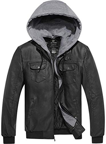 - Wantdo Men's Faux Leather Jacket PU Leather Moto Jacket with Removable Hood X-Large Black