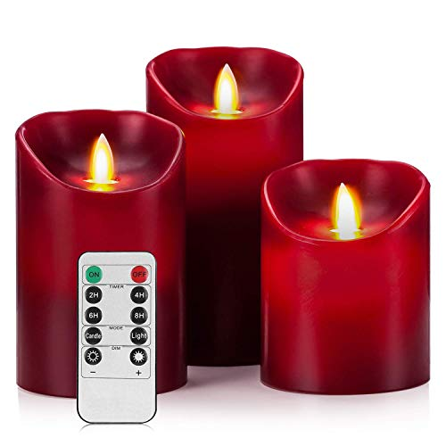 Flameless LED 4/5/6-Inch Drip-less Wax Pillar Candles - Real Wax & Real Flickering Candle Motion - with Remote 24-hour Timer Function ,Burgundy color,set of 3