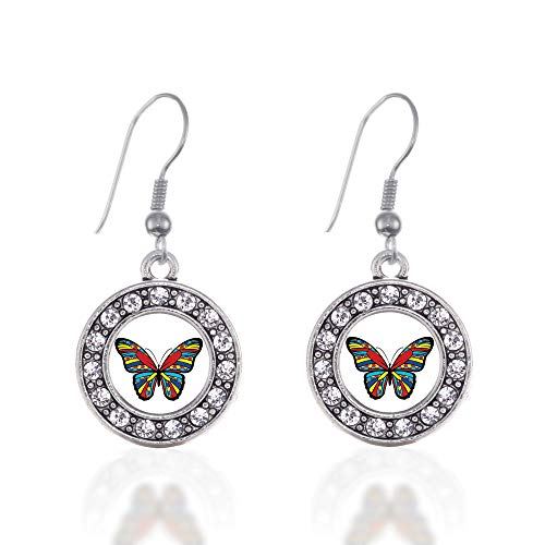 Inspired Silver - Autism Awareness Butterfly Charm Earrings for Women - Silver Circle Charm French Hook Drop Earrings with Cubic Zirconia Jewelry - Pave Butterfly Charm