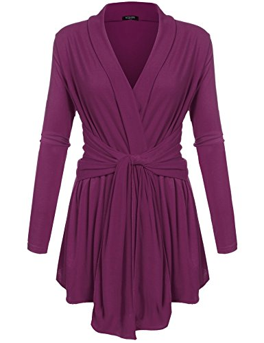 ACEVOG Women's Long Sleeve Casual Open Front Knit Cardigan Sweater Outwear Purple S