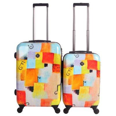 Frameless Expandable Luggage Set - NeoCover NCLGA-1202-2PC Notes Squared Luggage (2 Piece)