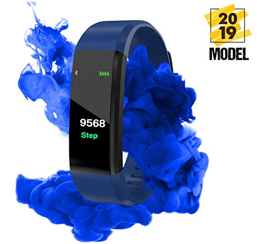 Fitness Tracker - Smart Band Activity Tracker, Heart rate Blood pressure Monitor, Pedometer watch, Calorie counter, IP67 Waterproof color screen, Sports wrist bands for Kids Women Men (navy)