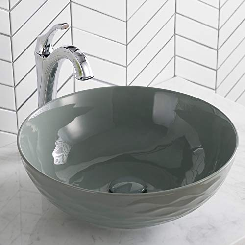 Kraus KCV-200GGR Ceramic Above counter Round Bathroom Sink, 16.5 x 16.5 x 5.5 inches, Gray