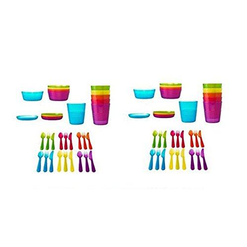 Ikea 72Pcs Kalas Kids Plastic BPA Free Flatware, Bowl, Plate, Tumbler Set, Colorful (72 Piece) - Party Dinnerware Range