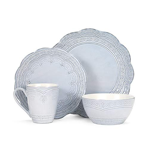 Dinnerware Set. 16 Piece. Round Dinner Dish Kit For 4. Multi Colored For Home Kitchen Everyday Dishware, Dining, Plates, Bowls, Mugs. Stoneware Tableware. Dishwasher, Microwave Safe (Light -