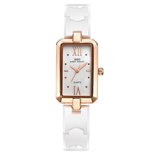Watch Diamond Quality (IBSO Women White Ceramic Wrist Watch Diamond Dial Bracelet Watch Girl Rhinestone Dial Rose Gold Watch (3848 Rose Gold))