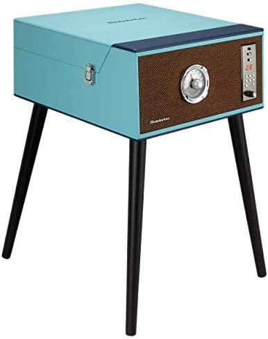 Studebaker Floor Stand Turntable, Bluetooth Receiver, CD Player, FM Radio, Wood Cabinet, 3W RMS Speakers x 2, Teal