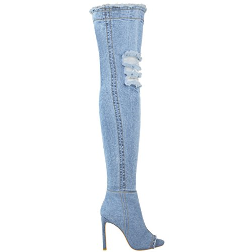 Rodilla Tacón Sobre Mujer Alto Muslo Denim De Zapatos Botas Vaqueros Tacón Celeste Elástico Talla IZ5ZxCwdqn