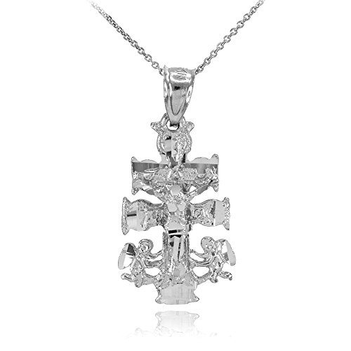 Silver Caravaca Double Cross with Angels Crucifix Necklace, 18