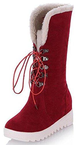 Fleece Lined Heels IDIFU Up Mid Faux Suede Wedge Womens Calf Red Lace Platform Casual Hidden Mid Boots Heels Snow 8q84C