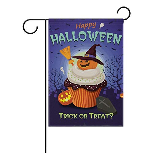 Sdfr4 Decorative Happy Halloween Trick or Treat Candy Cupcake Garden Yard Flag Banner for Outside House Flower Pot Double Side Print Polyester 12 x 18 inches