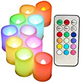 Multi Color Changing Flameless Candles with Timer and Remote - SWEETIME Set of 10 Round LED Votive Candles with Flickering Rotating Color Flame, Colored Tealight for Wedding and Birthday Gifts.