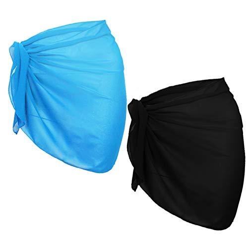 (URATOT 2 Pack Women Chiffon Short Sarong Cover Up Beach Wrap Swimsuit for Vocation (Black+Light Blue, 140x50cm))