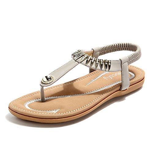 Socofy Damen Sandalen, Flip Flops Böhmische Sommer Sandals Flach Zehentrenner Stil T-Strap Offene Schuhe Strand Schuhe Schwarz 38