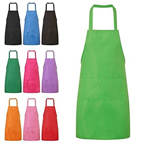 Green Kitchen Apron - HMILYDYK Kitchen and Cooking Women's Apron with Convenient Pocket Durable Stripe for Women Professional Stripe Chef Apron for Cooking, Grill and Baking (Green)