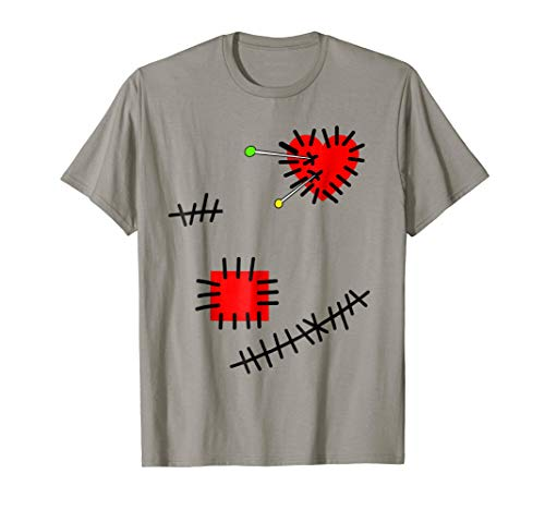 Voodoo Doll Costume T-Shirt Heart Pins and Stitches Print
