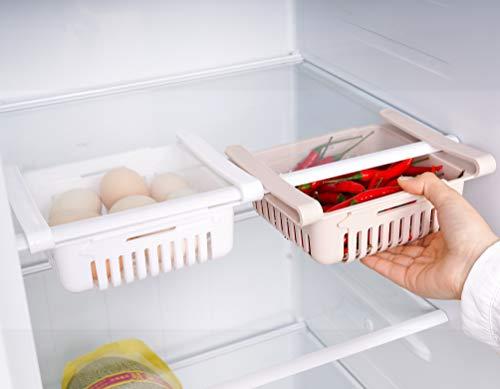 🥇 HapiLeap Frigoríficos Organizadores de Cajones – Caja de Almacenamiento del Refrigerador Mantenga el Refrigerador Ordenado Estante Soporte Contenedor de Alimentos Cestas