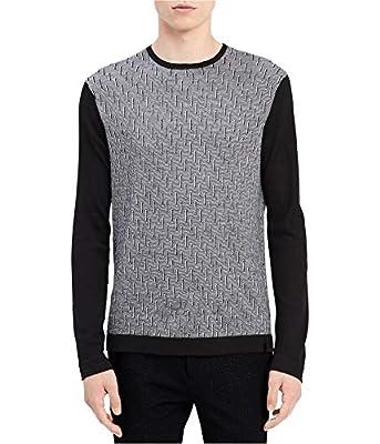 Calvin Klein Mens Pattern Long Sleeve Pullover Sweater