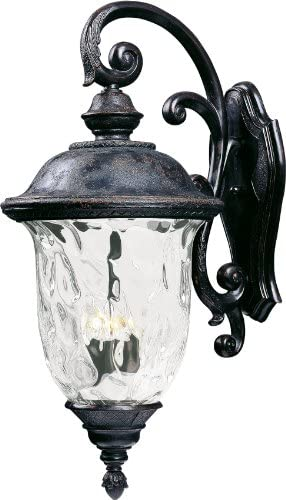 Maxim 40498WGOB Carriage House VX Water Glass Outdoor Wall Sconce, 3-Light 180 Watts, 31 H x 14 W, Oriental Bronze