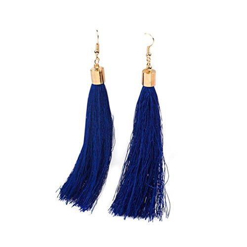 DZT1968 Women 12cm Elegant Bohemian Long Tassel Fringe Dangle Earrings (Navy)