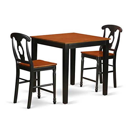 East West Furniture PBKE3-BLK-W 3 Piece Counter Height Table and 2 Stool Set