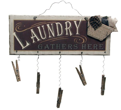 Laundry Gathers Here Clothespin Wooden Sign | Home Decor Laundry Room Wall Art | 12 x 15 Inch