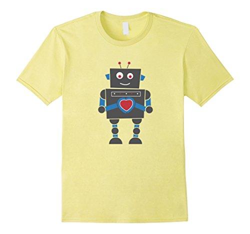 Men's Valentine's Day Gift for Men Women & Kids Robot Love T-Shirt XL Lemon (Yellow Robot)