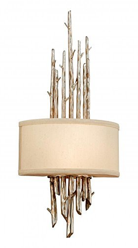 (Troy Lighting Adirondack 24H Wall Sconce - Silver Leaf Finish with Hardback Linen Shade by Troy)