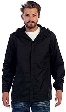 Gioberti Men's Waterproof Lightweight Rain Jacket, Black, S