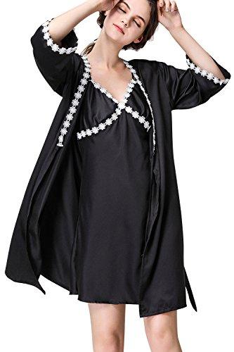 Lusso Camicia Pigiama Dolamen Vestaglia biancheria Pigiami Notte in Camicia notte Pigiama 2 Nero da 1 da Chemise Raso pigiameria in seta Donna con intima Kimono 2018 HTqHO