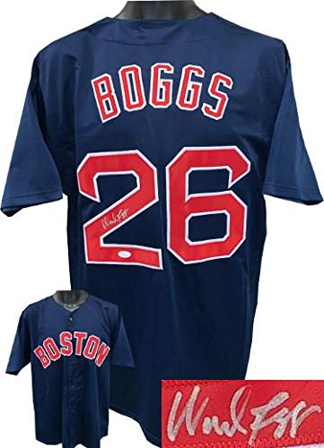(Wade Boggs Autographed Jersey - Navy Custom Stitched Pro Style XL Witnessed Hologram - JSA Certified)