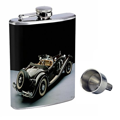 特価商品  Perfection Inスタイル8オンスステンレススチールWhiskey Flask Flask B016XL6L3O with Free Funnelヴィンテージ車design-003 Free B016XL6L3O, Thumbs-up:dbd39584 --- riyazinterior.in