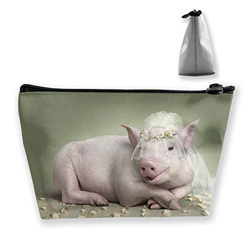 Hateone Portable Make-up Bag Cute Pig in Wedding Dress Large Trapezoidal Storage Pouch Travel Accessories Cosmetic Tote Bag Carry Case