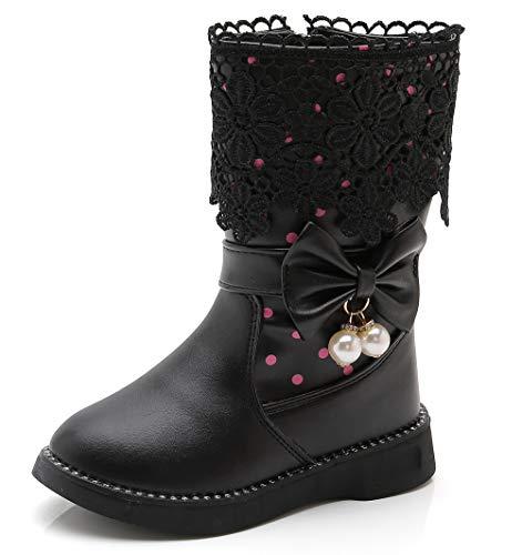 DADAWEN Girl's Waterproof Lace Bowknot Side Zipper Fur Winter Boots (Toddler/Little Kid/Big Kid) Black(Update) US Size 2.5 M Little Kid