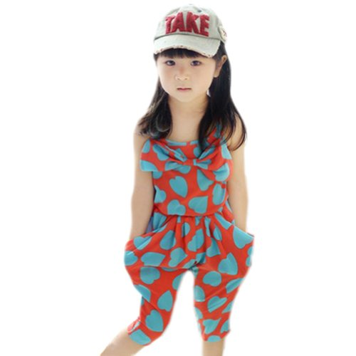 Zehui Baby-girls Harem Chiffon Heart Pattern Jumpsuit Cropped Trousers