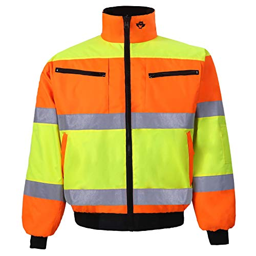 Two Tone Reversible Bomber Jacket for Men and Women Waterproof Winter Safety Work Coat High Visibility Ansi Class 3 (Large, Orange/Lime, 1 Piece)